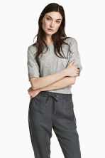 Wide T-shirt with chest pocket - Grey marl - Ladies | H&M 1