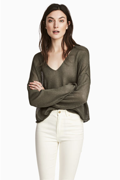 Linen-blend jumper - Khaki green - Ladies | H&M CN