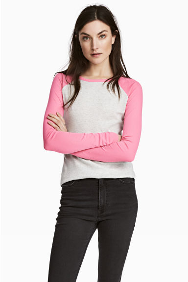 Jersey top - Pink/Grey marl - Ladies | H&M CN 1