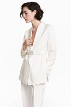 Satin belted jacket - White - Ladies | H&M CA 1