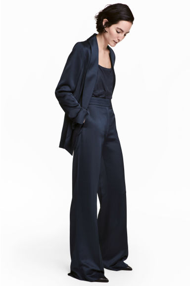 Satin suit trousers - Dark blue - Ladies | H&M CN 1