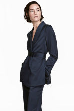 Satin belted jacket - Dark blue - Ladies | H&M 1