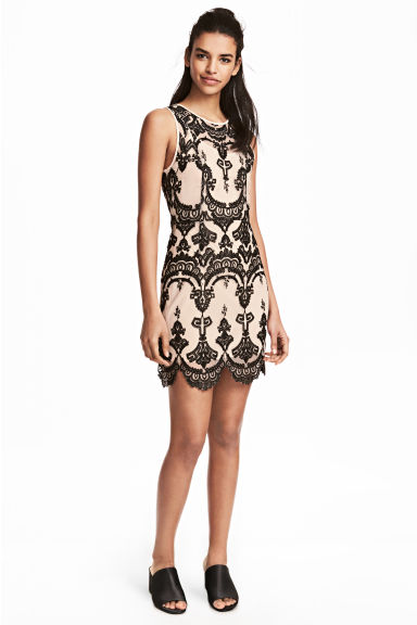 Lace dress - Beige/Black - Ladies | H&M CN 1