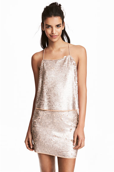 Sequined top - Old rose - Ladies | H&M 1