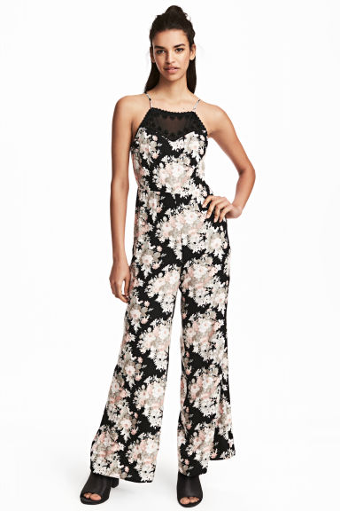 Jumpsuit - Black/Floral - Ladies | H&M GB
