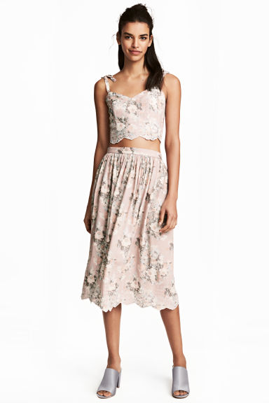 Embroidered bustier - Light pink/Floral - Ladies | H&M 1