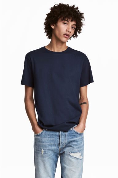 Round-necked T-shirt - Dark blue - Men | H&M CN