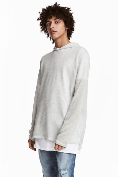 Fine-knit hooded jumper - Light grey - Men | H&M CN 1