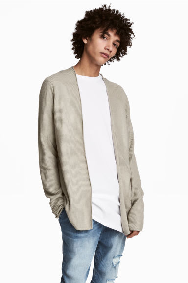 Ribbed cardigan - Beige - Men | H&M CN 1