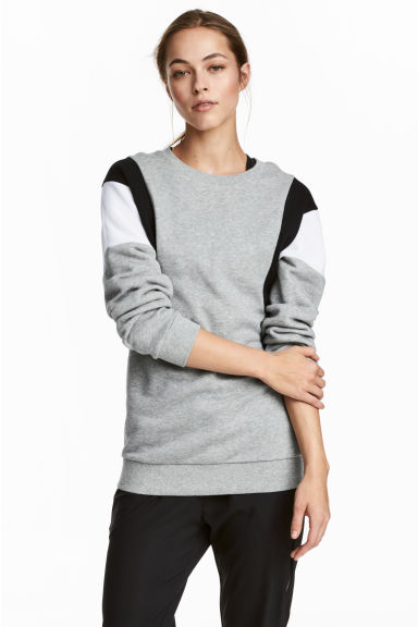 Block-coloured sweatshirt - Grey marl - Ladies | H&M CN 1