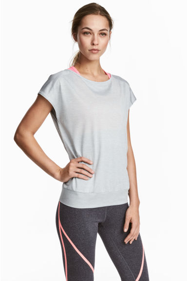 Sports top - Light grey marl - Ladies | H&M CN 1