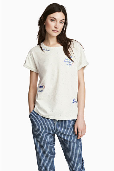 Nepped T-shirt - White/Blue - Ladies | H&M 1