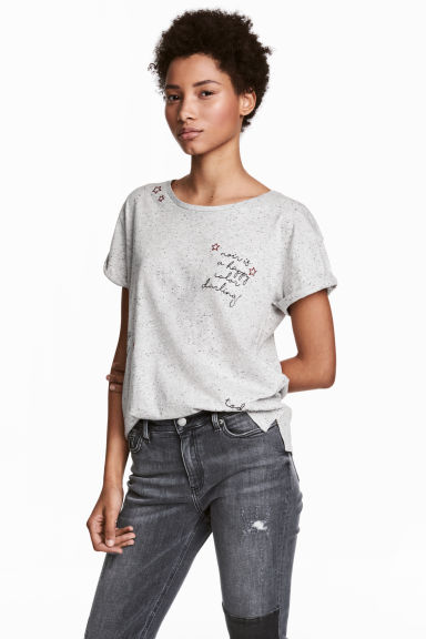 Nepped T-shirt - Grey/Black - Ladies | H&M 1
