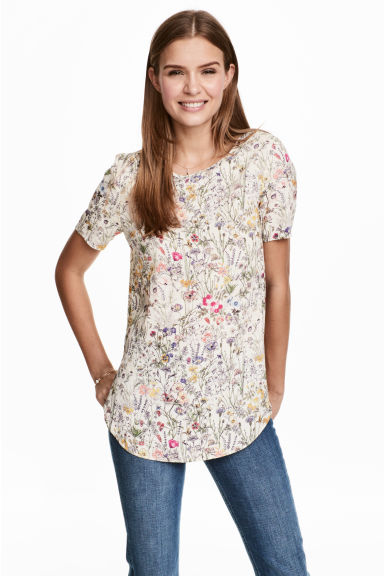 Short-sleeved top - Natural white/Floral - Ladies | H&M 1