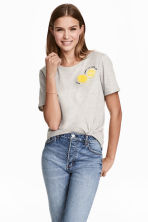 T-shirt with a motif - Grey/Lemon - Ladies | H&M GB 1