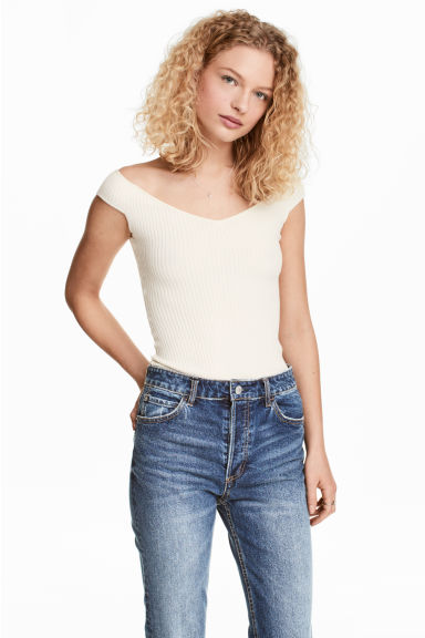 Off-the-shoulder top - Natural white - Ladies | H&M 1
