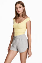 Off-the-shoulder top - Light yellow - Ladies | H&M CN 1