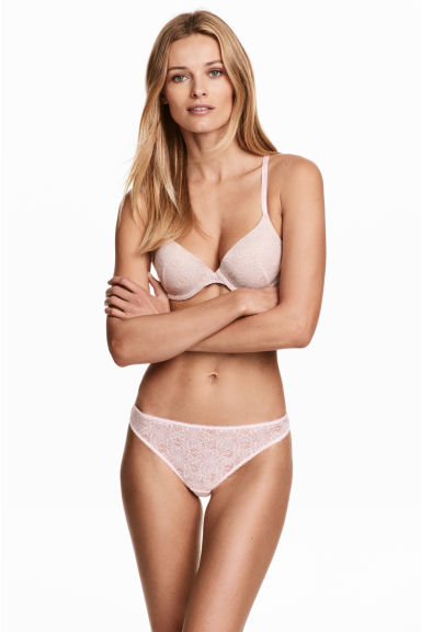 Lace thong briefs - Light pink - Ladies | H&M CN 1