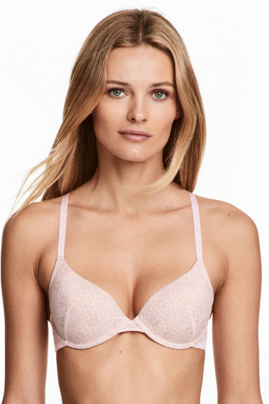 Padded lace bra - Light pink - Ladies | H&M CN 1