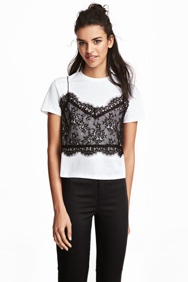 T-shirt with a lace cami - White/Black - Ladies | H&M GB 1