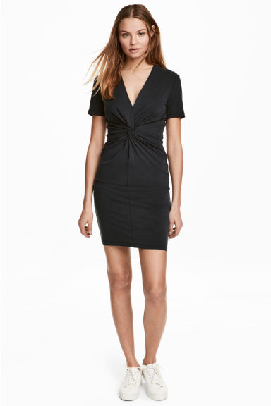 Dress with tie detail - Black - Ladies | H&M 1