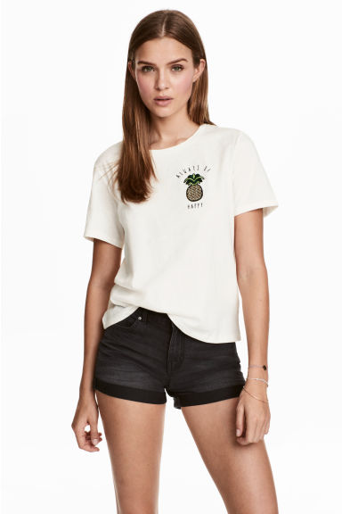 T-shirt with a motif - Natural white/Pineapple -  | H&M