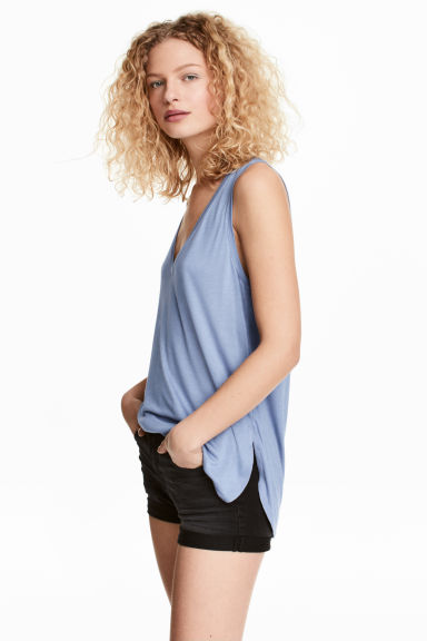 V-neck jersey top - Blue - Ladies | H&M 1
