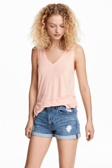 V-neck jersey top - Powder pink - Ladies | H&M CN 1