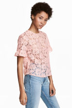 Flounce-sleeved lace blouse - Powder pink - Ladies | H&M CN 1