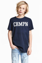 Printed T-shirt - Dark blue -  | H&M CA 1