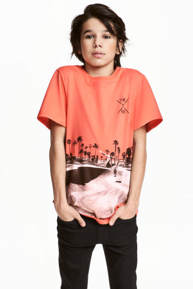 Printed T-shirt - Coral - Kids | H&M 1