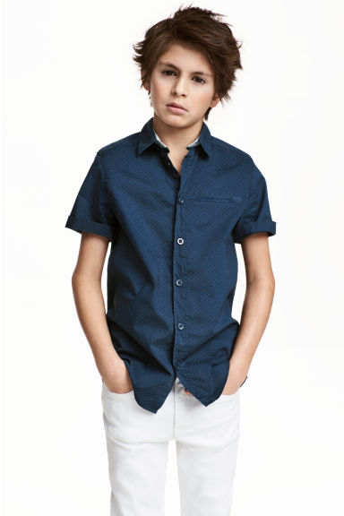 Short-sleeved shirt - Dark blue/Spotted -  | H&M