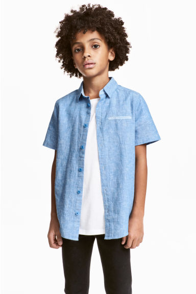 Short-sleeved shirt - Blue marl - Kids | H&M CN 1