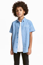 Short-sleeved shirt - Blue marl -  | H&M 1