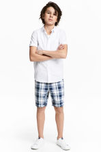 Shorts with a belt - Dark blue/Checked -  | H&M 1