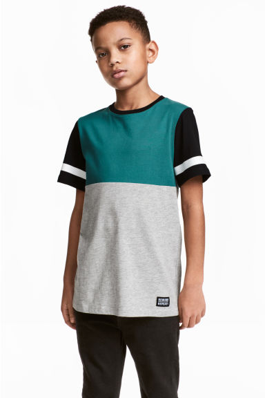 T-shirt - Grey/Petrol green - Kids | H&M 1
