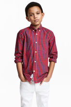 Cotton shirt - Coral red/Checked - Kids | H&M 1