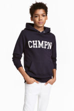 Printed hooded top - Dark blue - Kids | H&M 1