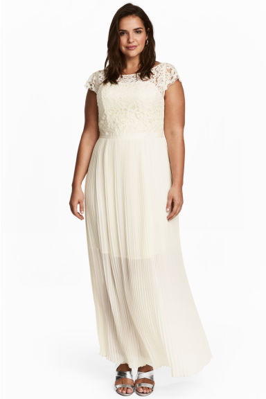 H&M+ Long dress - Natural white - Ladies | H&M CN