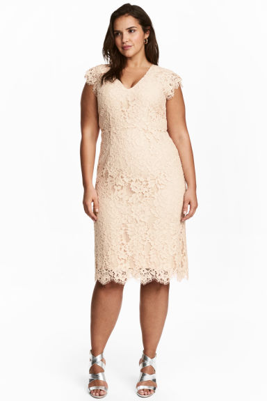 H&M+ Lace dress - Light beige - Ladies | H&M