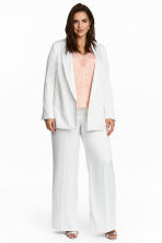 H&M+ Wide satin trousers - White -  | H&M 1