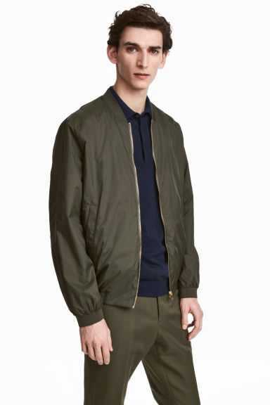 Thin nylon bomber jacket - Dark khaki green - Men | H&M 1