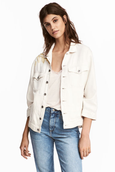 Lyocell denim jacket - White denim - Ladies | H&M CN 1