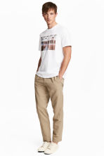 Linen-blend trousers - Dark beige - Men | H&M 1