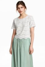Jersey top with lace - Grey marl - Ladies | H&M CN 1