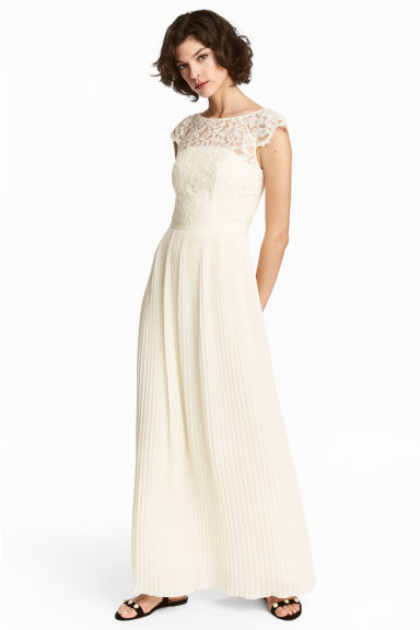 Maxi dress with lace bodice - Natural white - Ladies | H&M 1