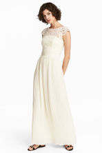 Maxi dress with lace bodice - Natural white - Ladies | H&M CN 1