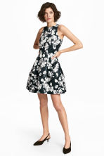 Patterned satin dress - Black/Floral - Ladies | H&M 1
