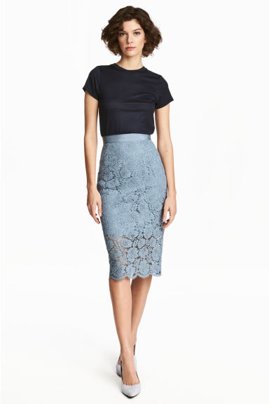 Lace pencil skirt - Blue-grey - Ladies | H&M CN 1
