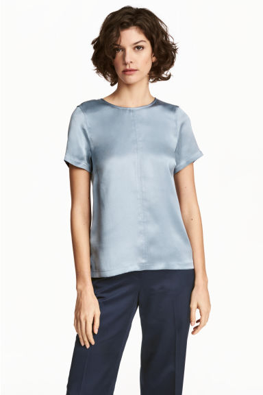 真絲短袖女衫 - Blue-grey - Ladies | H&M